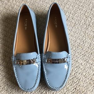 Coach loafers light blue patent leather. Size 10